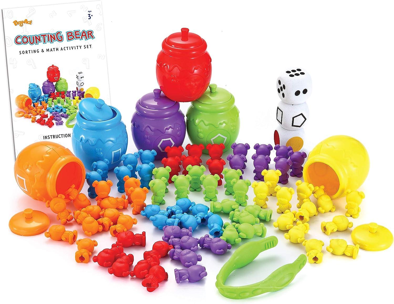 JOYIN Play-Act Infantil Juguetes Montessori 72pcs Osos Colores y 6 Latas de Abeja Juguetes Educativos
