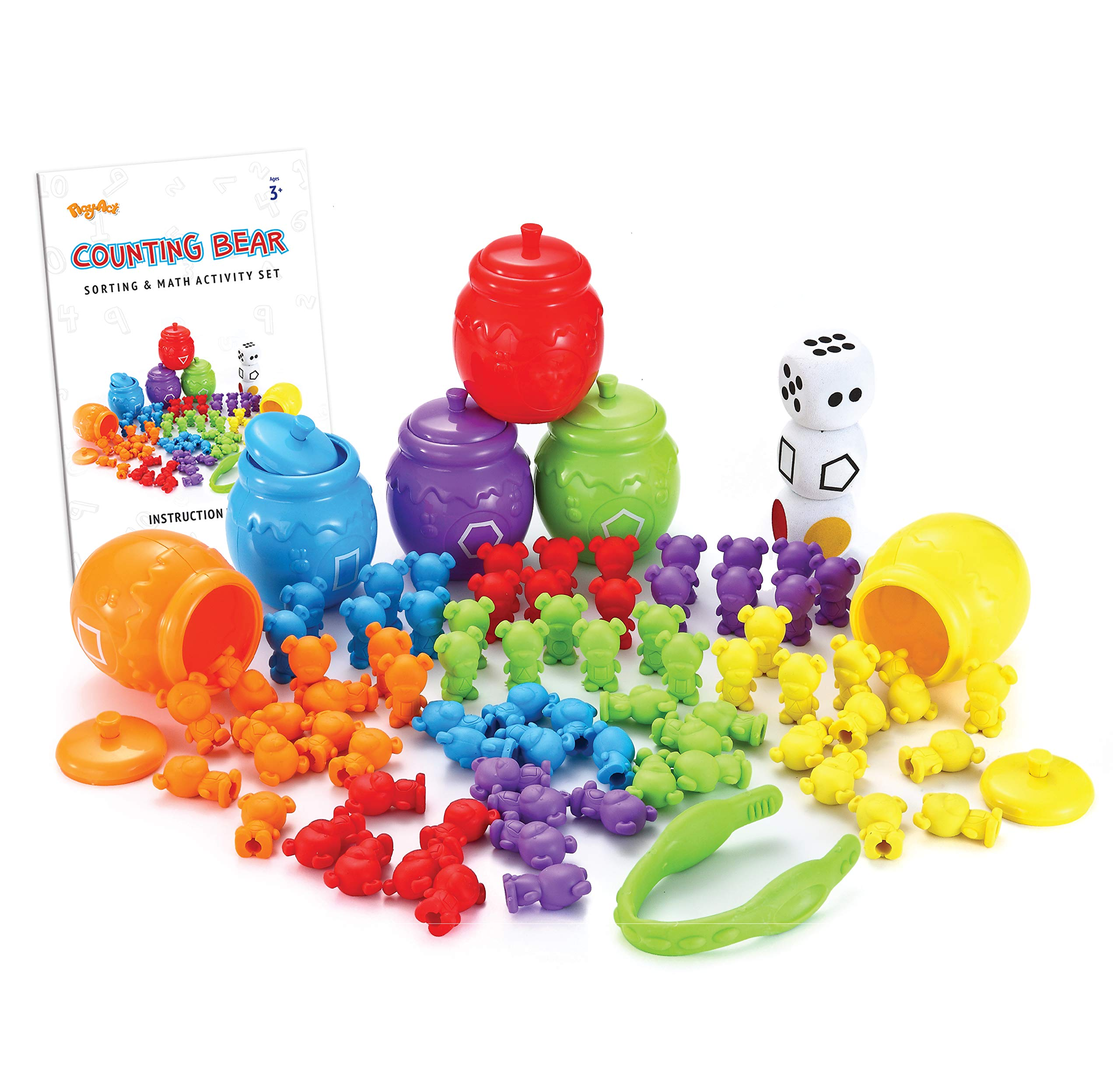 JOYIN Play-Act Counting/Sorting Bears Toy Set with Matching Sorting Cups Toddler Game for Pre-School Learning Color Recognition STEM Educational Toy-72 Bears, Fine Motor Tool, Dice and Activity Book by JOYIN