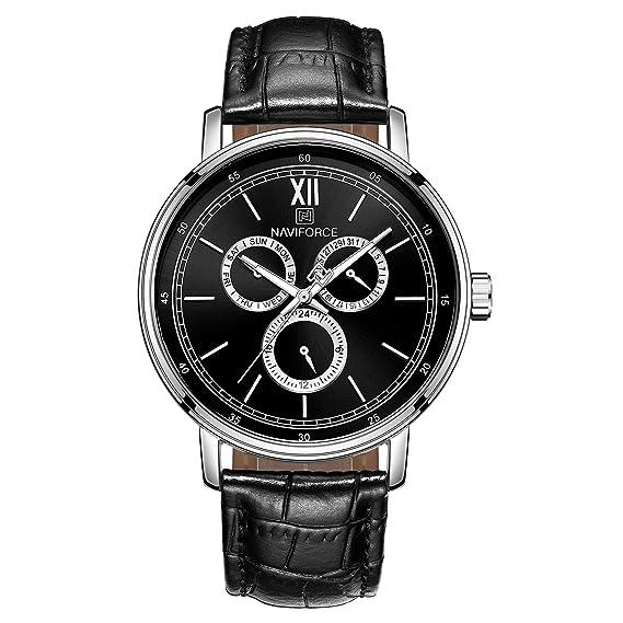 Naviforce - Reloj de Pulsera para Hombre, Correa de Piel Minimalista clásica, analógico,