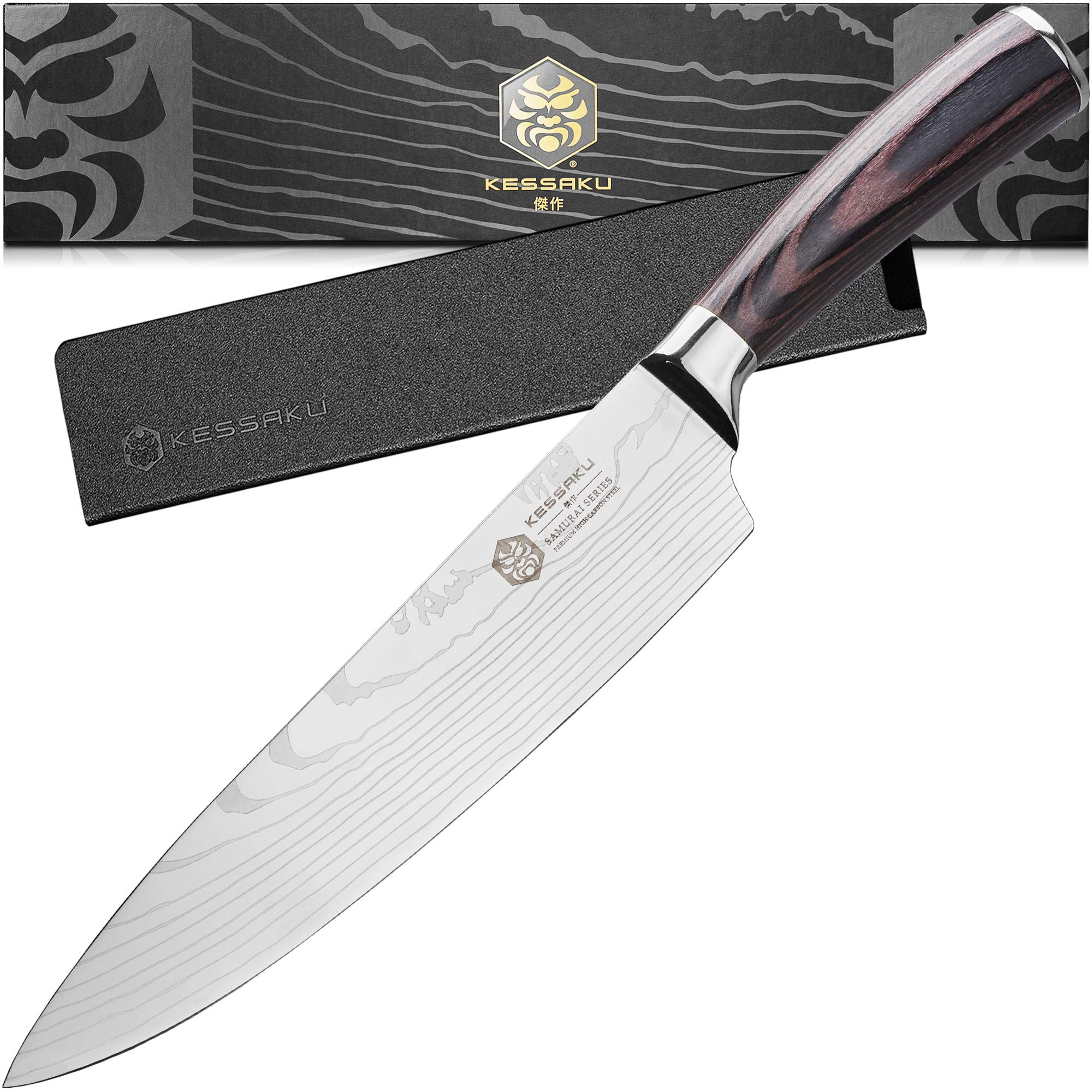 Kessaku 8-Inch Chef Knife - Samurai Series - High Carbon 7Cr17MoV Stainless Steel with Blade Guard