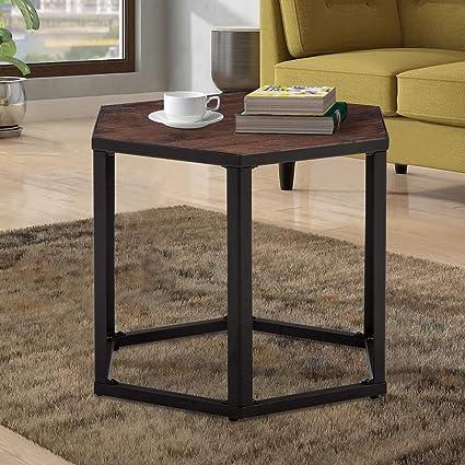 Amazoncom End Table Hexagon Modern Leisure Wood Coffee Table With - Hexagon wood coffee table