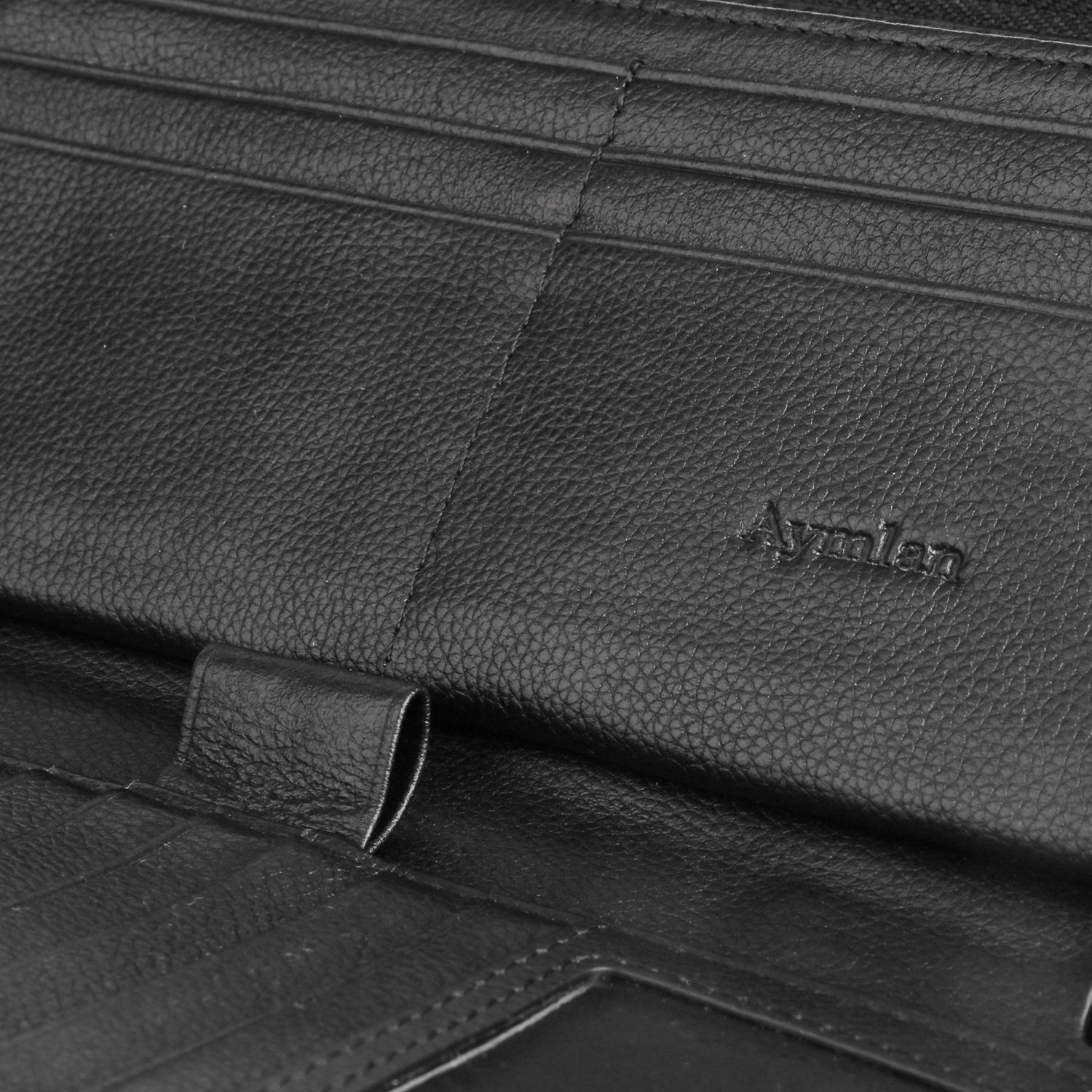 Womens RFID Blocking Wallet Real Leather Zip Around Clutch Large Travel Purse (Black) by Aymlan (Image #7)