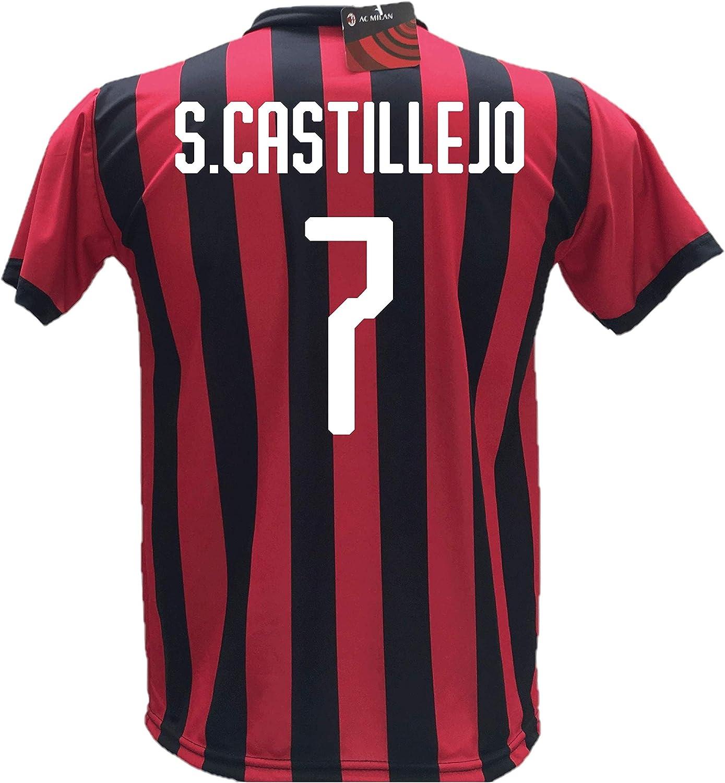 Camiseta de fútbol S. Castillejo 7 Milan, réplica autorizada 2018-2019, para niño (tallas 2, 4, 6, 8, 10, 12), adulto (S, M, L, XL): Amazon.es: Deportes y aire libre