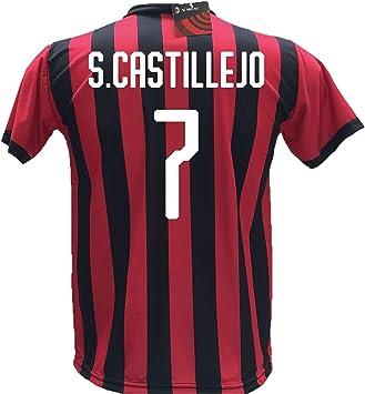 Camiseta de fútbol S. Castillejo 7 Milan réplica autorizada 2018-2019 para niño (tallas 2, 4, 6, 8, 10, 12) para adulto (S, M, L, XL): Amazon.es: Deportes y aire libre