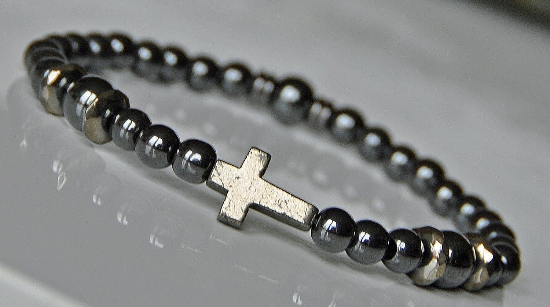 Grounding and Strength, Faith Bracelet, Pyrite Cross Bracelet, Hematite Healing Gemstone Bracelet, Spiritual Bracelet, Mens Fashion Bracelet,