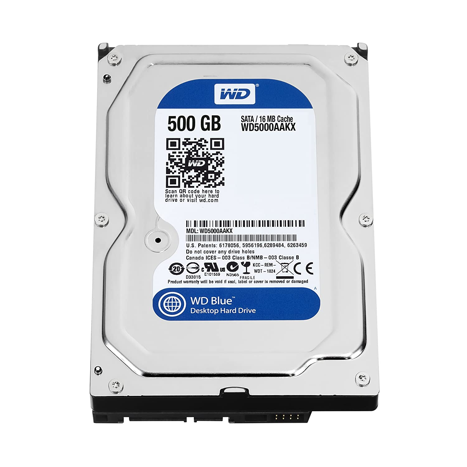 WD Blue 500GBDesktopHard Disk Drive - 7200 RPM SATA 6 Gb/s 16MB Cache 3.5 Inch- WD5000AAKX