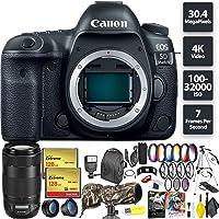 Canon EOS 5D Mark IV DSLR Camera (Body) + 256GB Memory Card (2X 128) + Canon 70-300mm Lens Telephoto Combo
