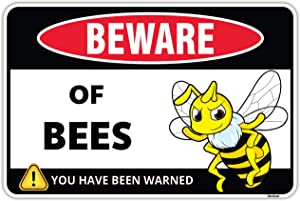 Venicor Bee Decor Sign - 8 x 12 Inches - Aluminum - Bumble Bee Decorations for Home Garden - Honey Bee Hive Outdoor Yard Accessories - Bee Keeper Gifts Trap Stand Stickers Bathroom Food Kit Houses