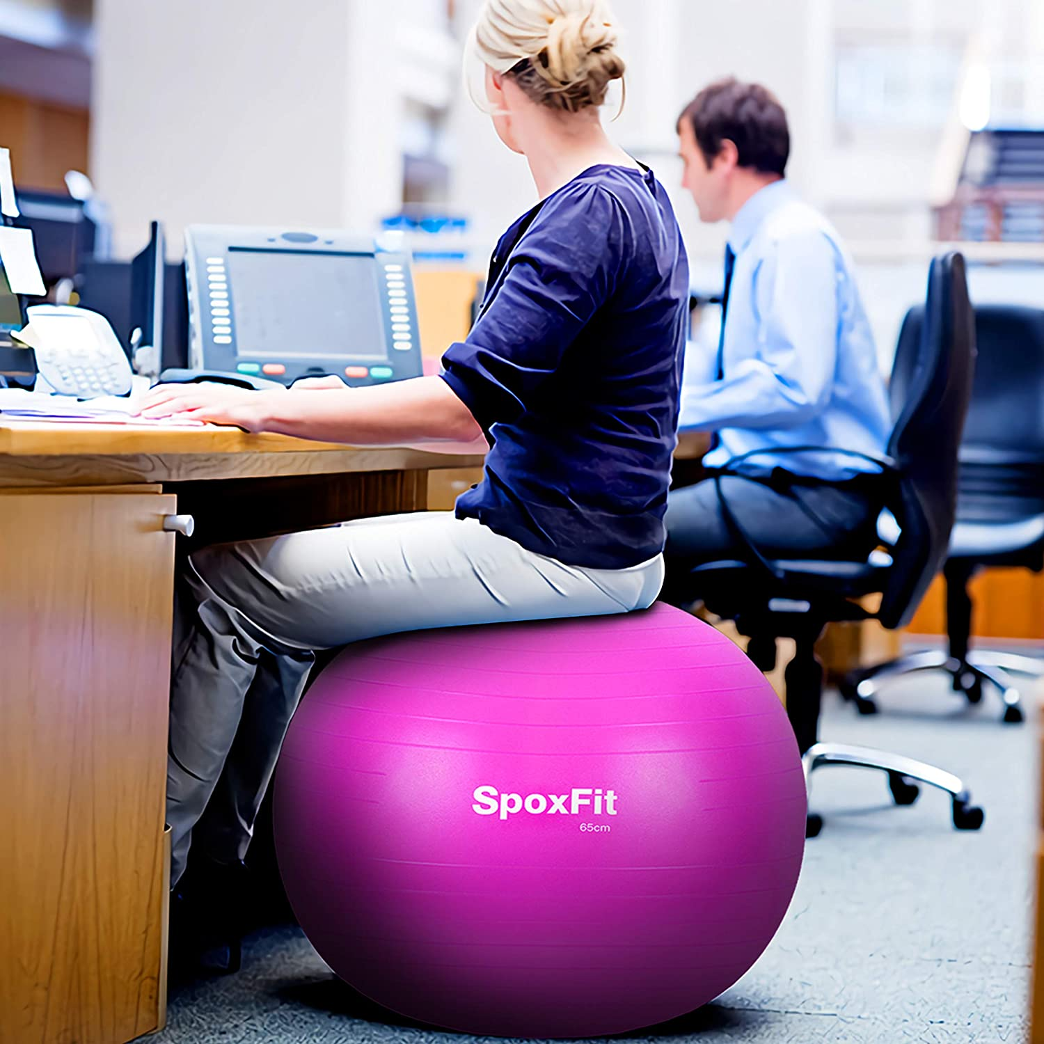 Super Strong Holds 660lbs Set Includes Stable Base SpoxFit Exercise Ball Chair with Resistance Bands Yoga Fitness Balance Pump Home Gym Bundle-65cm Perfect for Office Workout Poster