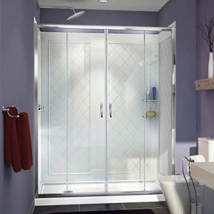 DreamLine Visions Frameless Sliding Shower Door, 30u0026quot; X 60u0026quot; Single  Threshold Shower Base