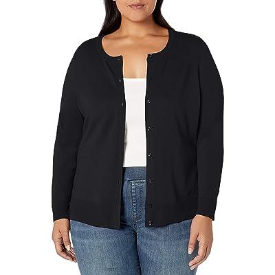 Essentials Women's Plus Size Lightweight Crewneck Cardigan Sweater: Clothing