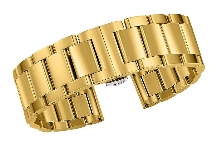 Pulsera estrecha de la correa del reloj del oro para las mujeres enlaces metálicos de 15m
