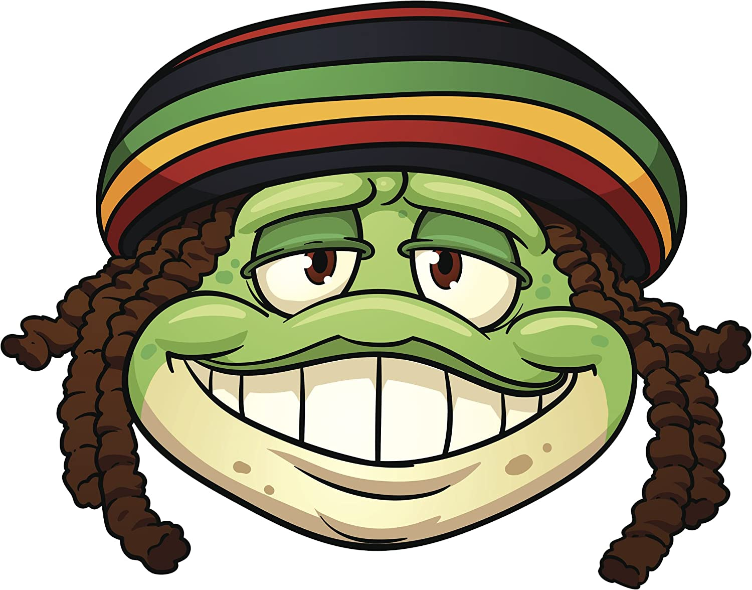 Amazon com smiling jamaican frog with reggae rasta beanie cartoon vinyl decal sticker 8 wide automotive