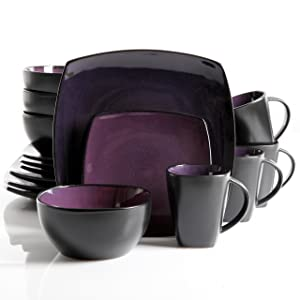 Gibson Elite 90902.16RM Soho Lounge 16-Piece Square Reactive Glaze Dinnerware Set, Purple.