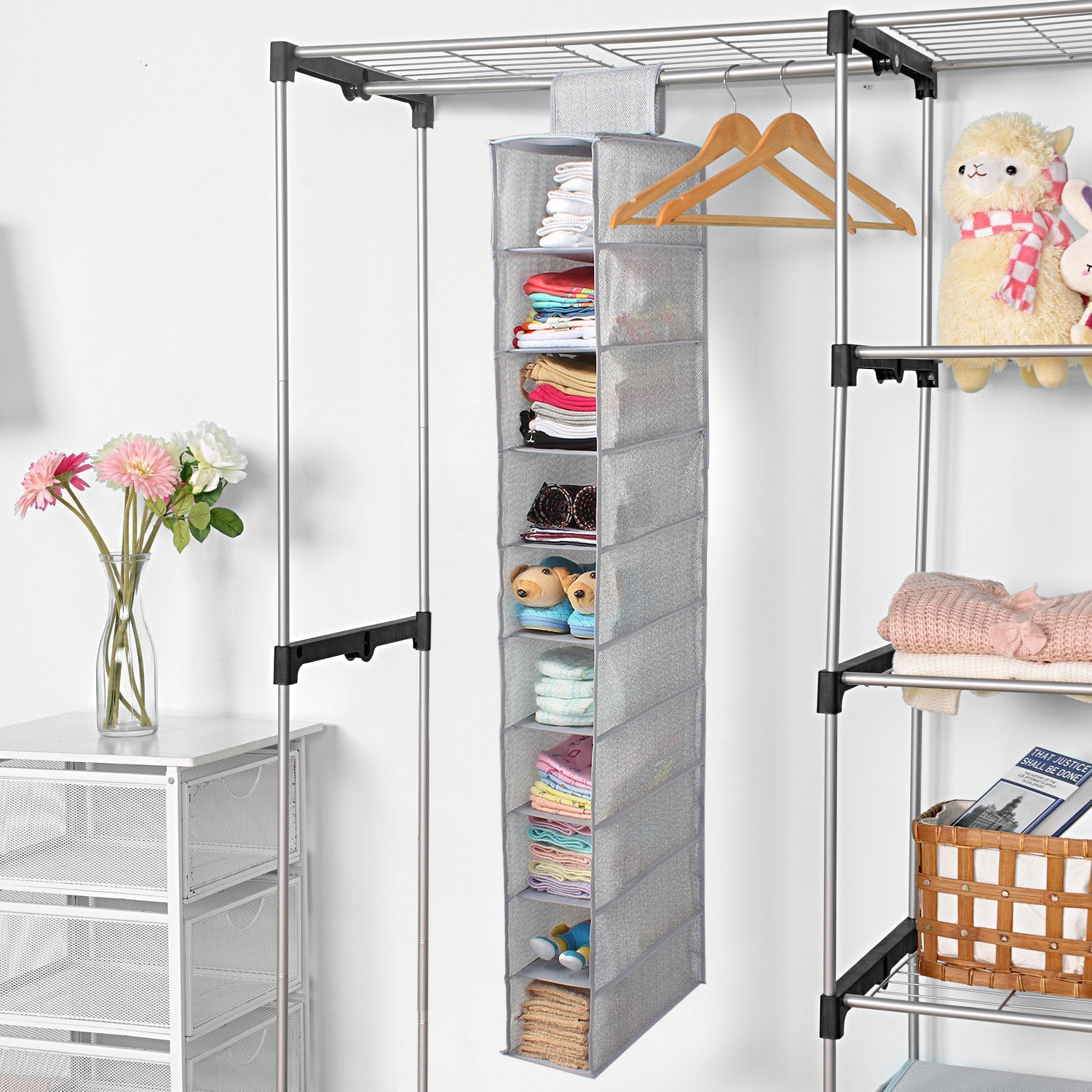 Homestorie Non Woven Cloth Hanging Storage Wardrobe Organizer, 10 Shelves, Grey