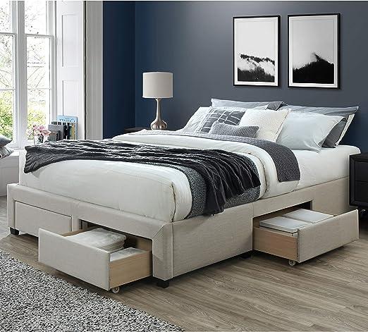 Amazon Com Dg Casa Cosmo Upholstered Platform Bed Frame Base With