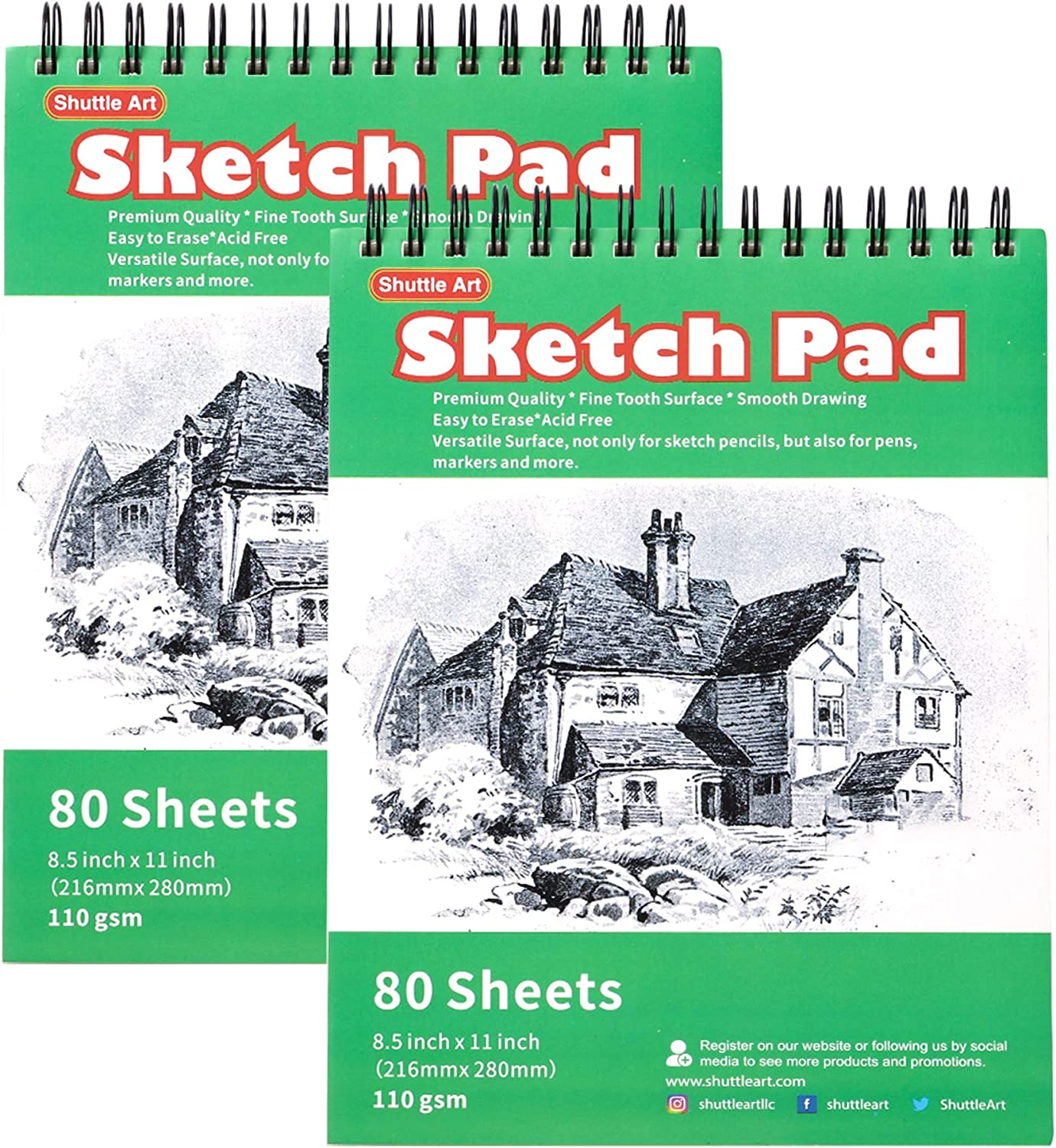 Artists Sketch Books 2 Pack 8.5 x 11 inch Shuttle Art 160 Sheets of Sketch Paper Pad Ideal for Drawing and School Supplies