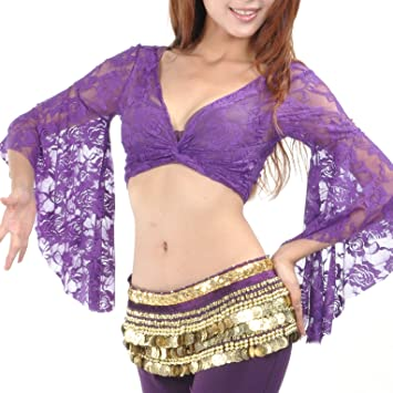 460b88c10 BellyLady Tribal Belly Dance Lace Butterfly Sleeve Wrap Top, Top for  Christmas-Purple, Bells - Amazon Canada