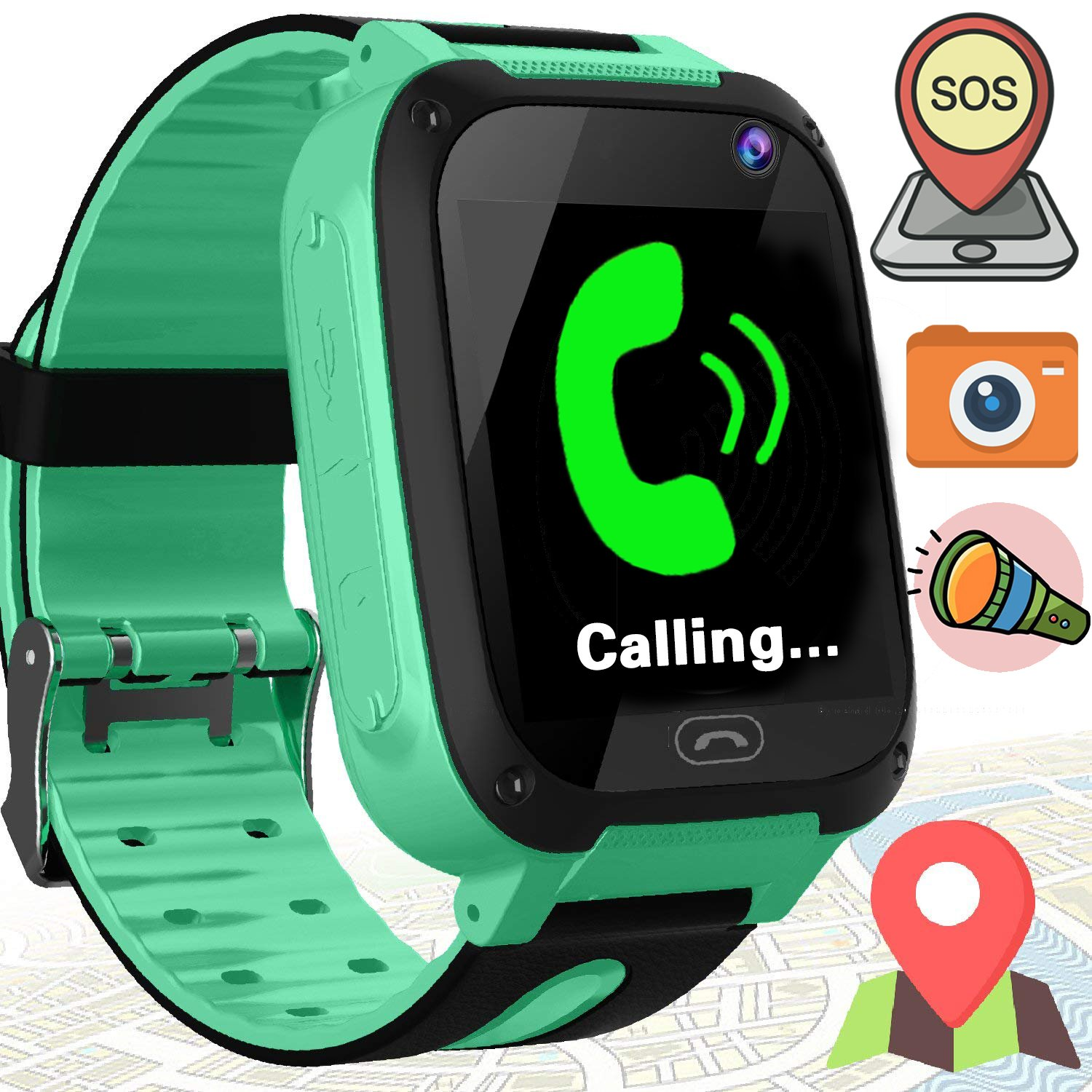 Kids Smart Watches with Sim Card Slot- 1.44'' GPS Tracker Wrist Smart Watch Phone for Boys Girls with Camera Pedometer Wearable Smartwatch Bracelet Children Birthday Travel (Green)