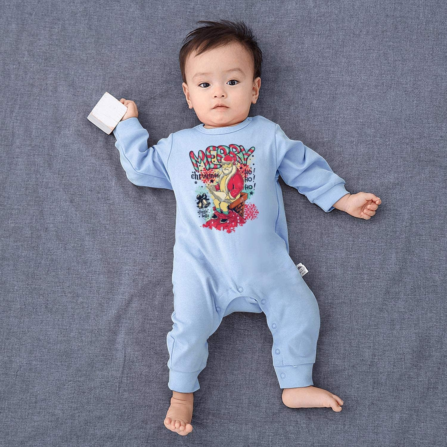 Happiest Christmas Holiday Baby Onesie Organic Cotton Novelty Soft Girl Long Sleeve Playsuit