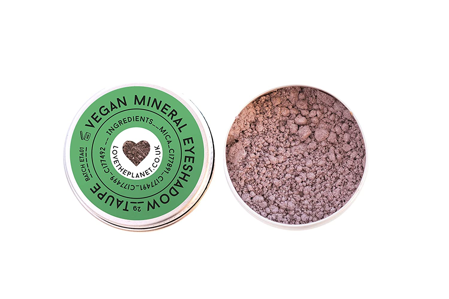 Love the Planet Vegan Mineral Eyeshadow Shade Taupe in Refillable Tin