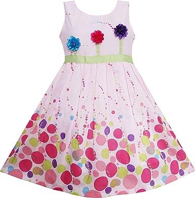 Vestido para niña Colorido Dot 3 Flor Verde Cinturón Fiesta ...