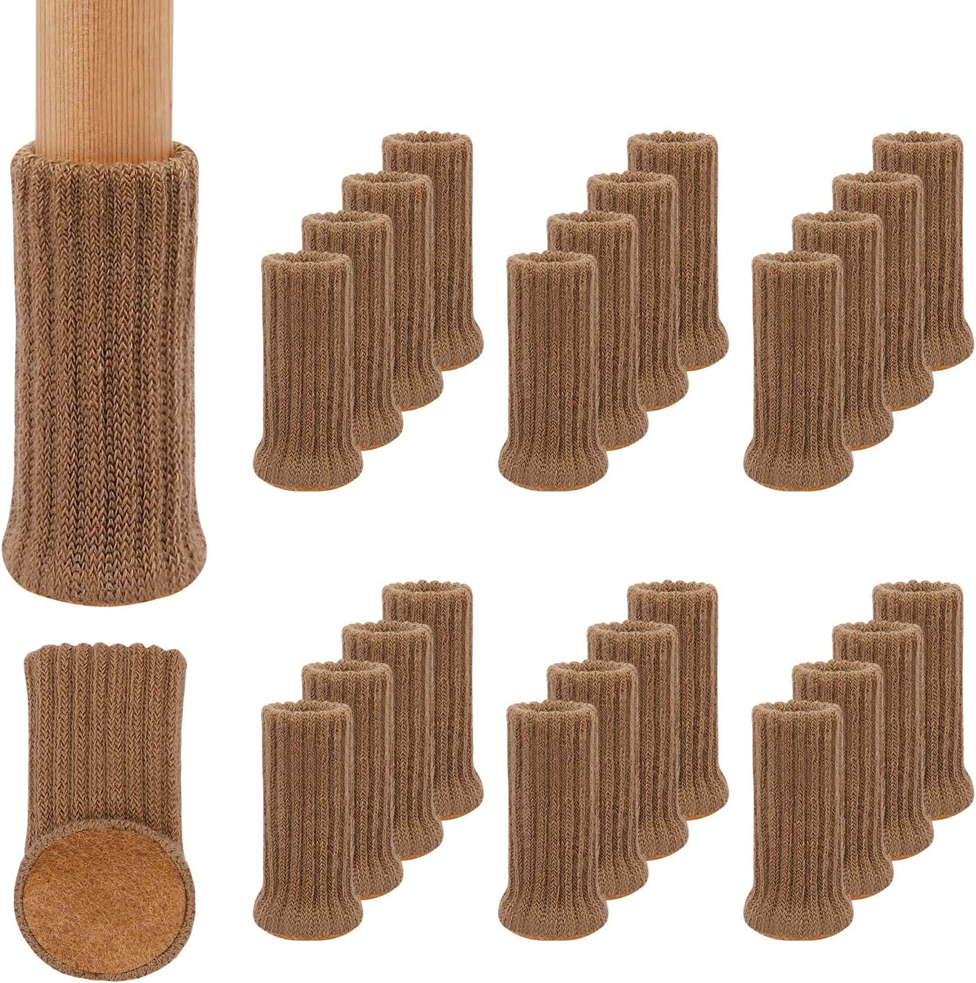 24Pack Furniture Leg Socks, High Elastic Knitted Chair Leg Protectors for Hardwood Floors, Fits All Shapes of Chair Legs with Diameter from 3/4 inch to 1-1/2 inch, Light Brown