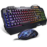 HAVIT Rainbow Backlit Wired Gaming Keyboard Mouse Combo (Black)