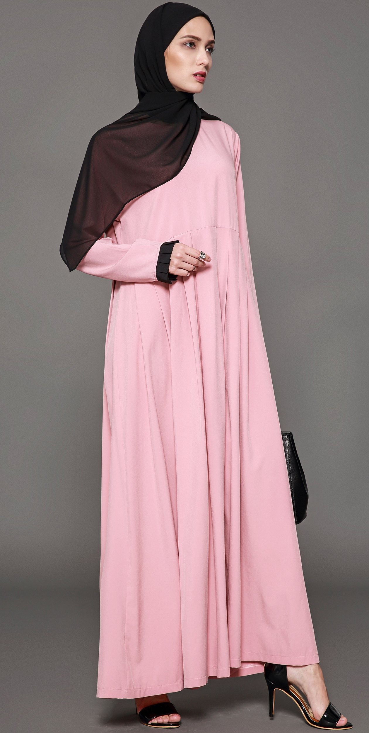 Ababalaya Women's Elegant Modest Muslim Full Length O-Neck Solid Pleated Runway Abaya S-4XL,Pink,Tag Size L = US Size 10-12 by Ababalaya (Image #5)