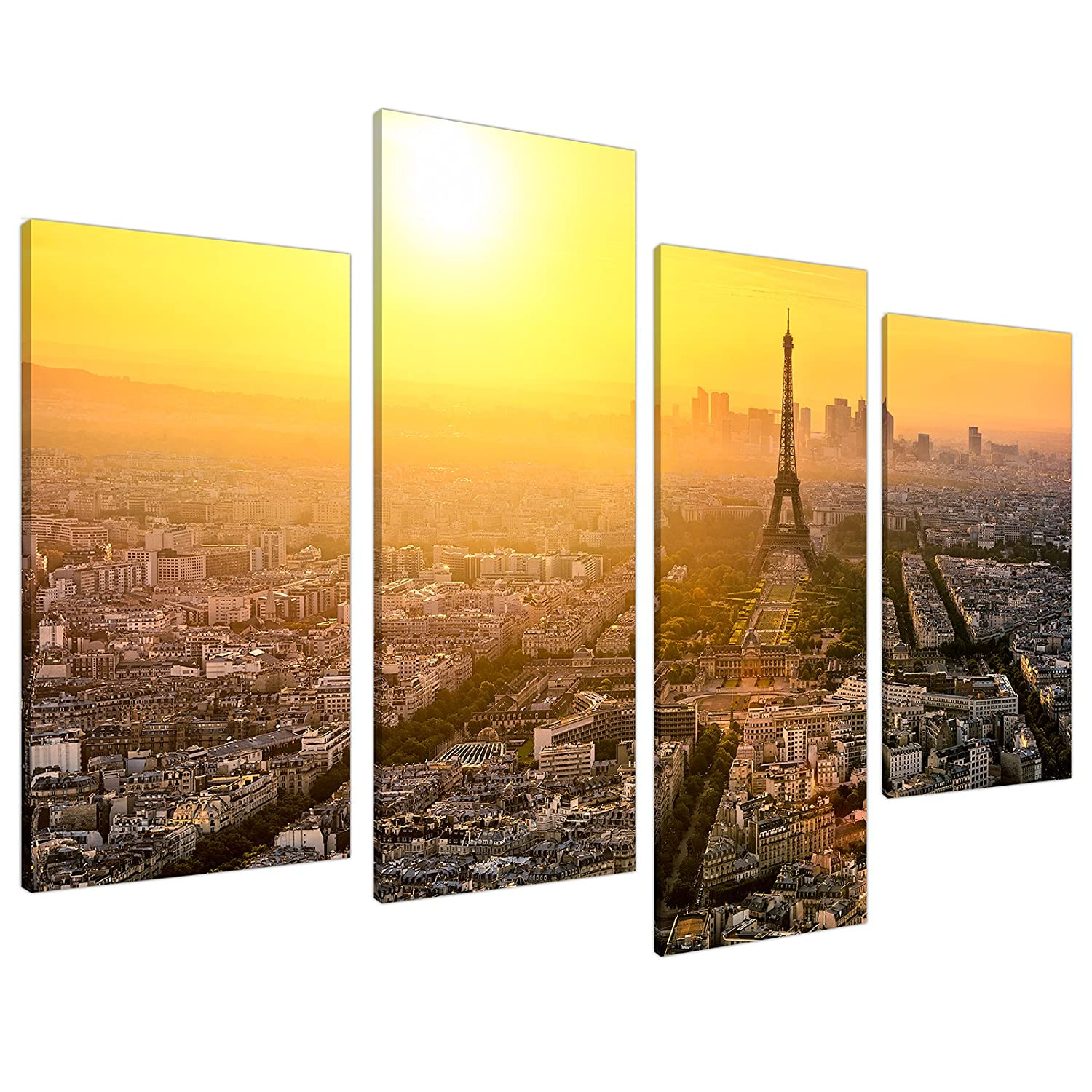 Large Paris Eiffel Tower Yellow Canvas Wall Art Prints Pictures 4153 ...