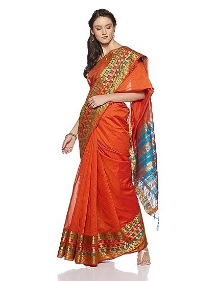 7ab109585d9aa Aalia Art Silk Saree With Blouse Piece (21248 Dark Orange
