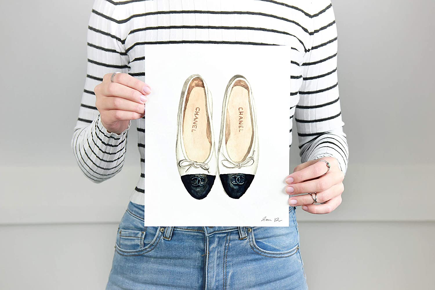 Amazon.com  Chanel Ballet Flats Art Print Watercolor Painting Wall Home  Decor Chanel Shoes Coco Chanel Quotes Fashion Illustration Vogue Designer  Classic ... 9b35352946929