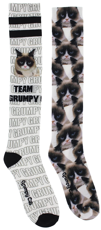 One Size 2 Pr Bell Womens Grumpy Cat Faces Knee High Socks K