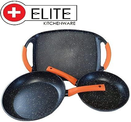 ELITE KITCHENWARE Juego de sartenes y Plancha antiadherentes Revestimiento Piedra inducción 24-28