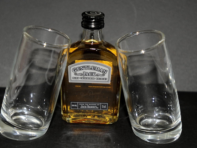 Par de nombre del evento first vasos de chupito (60 ml) con una botella de whisky Jack perchero de en miniatura arma de juguete Tennessee 5 cl/50 ml: ...