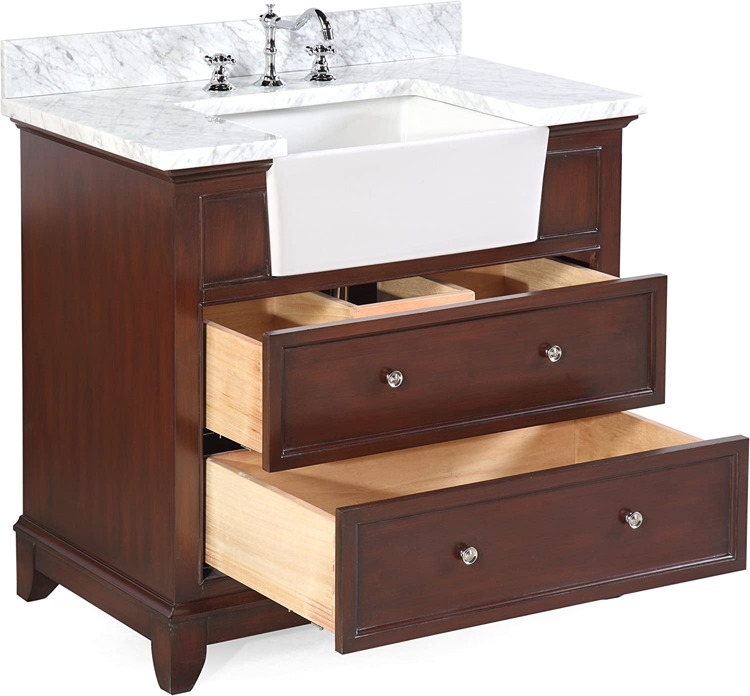 Amazon Com Sophie 36 Inch Farmhouse Bathroom Vanity Carrara Chocolate Includes Chocolate Cabinet With Authentic Italian Carrara Marble Countertop And White Ceramic Farmhouse Apron Sink Kitchen Dining