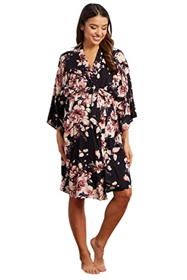 a4001245690 Image Unavailable. Image not available for. Color  PinkBlush Maternity  Mauve Floral Delivery Nursing Maternity Robe ...
