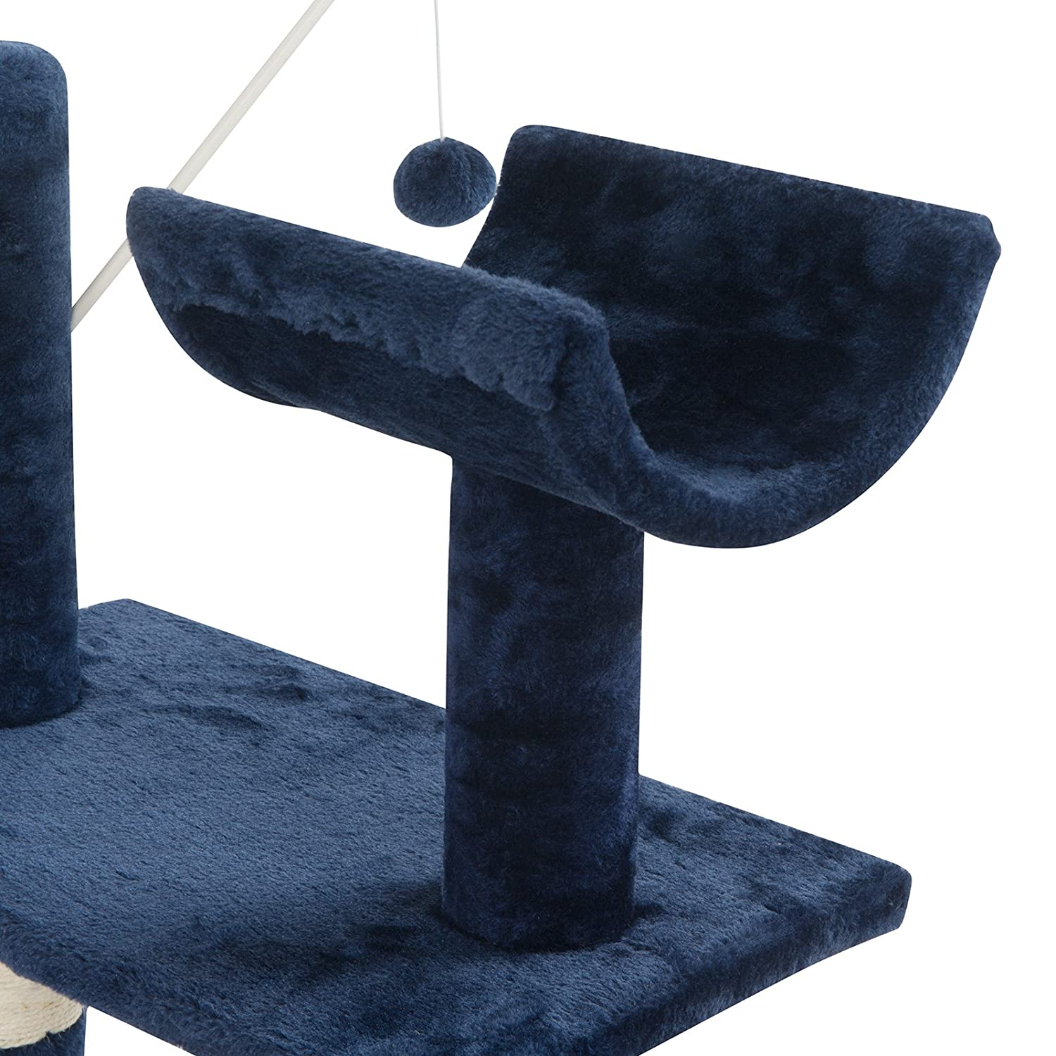 53.1//135 cm High Dark Blue Tammible Cat Activity Tree and Towers Condo Furniture Scratching Kitty Pet Play House with Stair