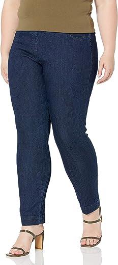 سروال SLIM-SATION نسائي عريض بطول عادي سحب ساق مستقيمة مع تحكم في البطن