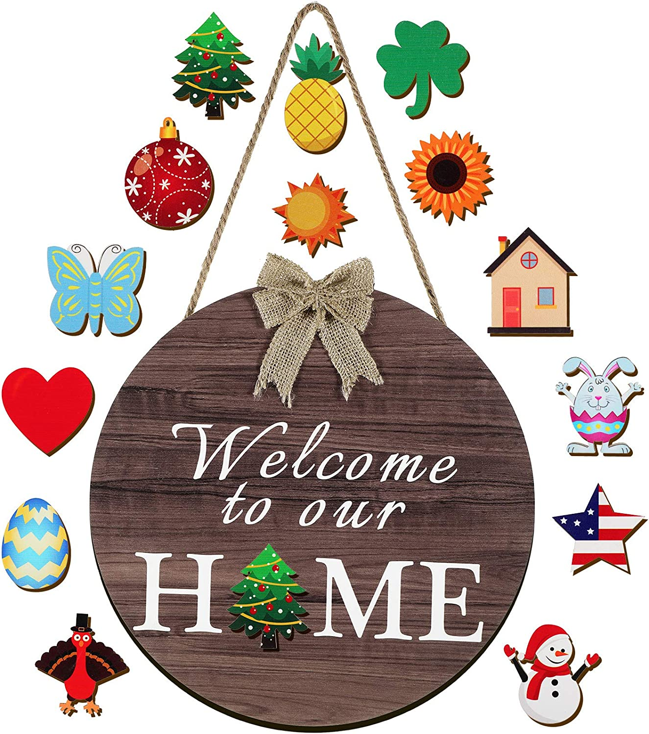 Jetec Seasonal Welcome Door Sign Interchangeable Welcome to Our Home Hanging Sign Round Wood Front Door Sign with Burlap Bow with 14 Seasonal Ornament for Christmas Easter Holiday Porch Decor