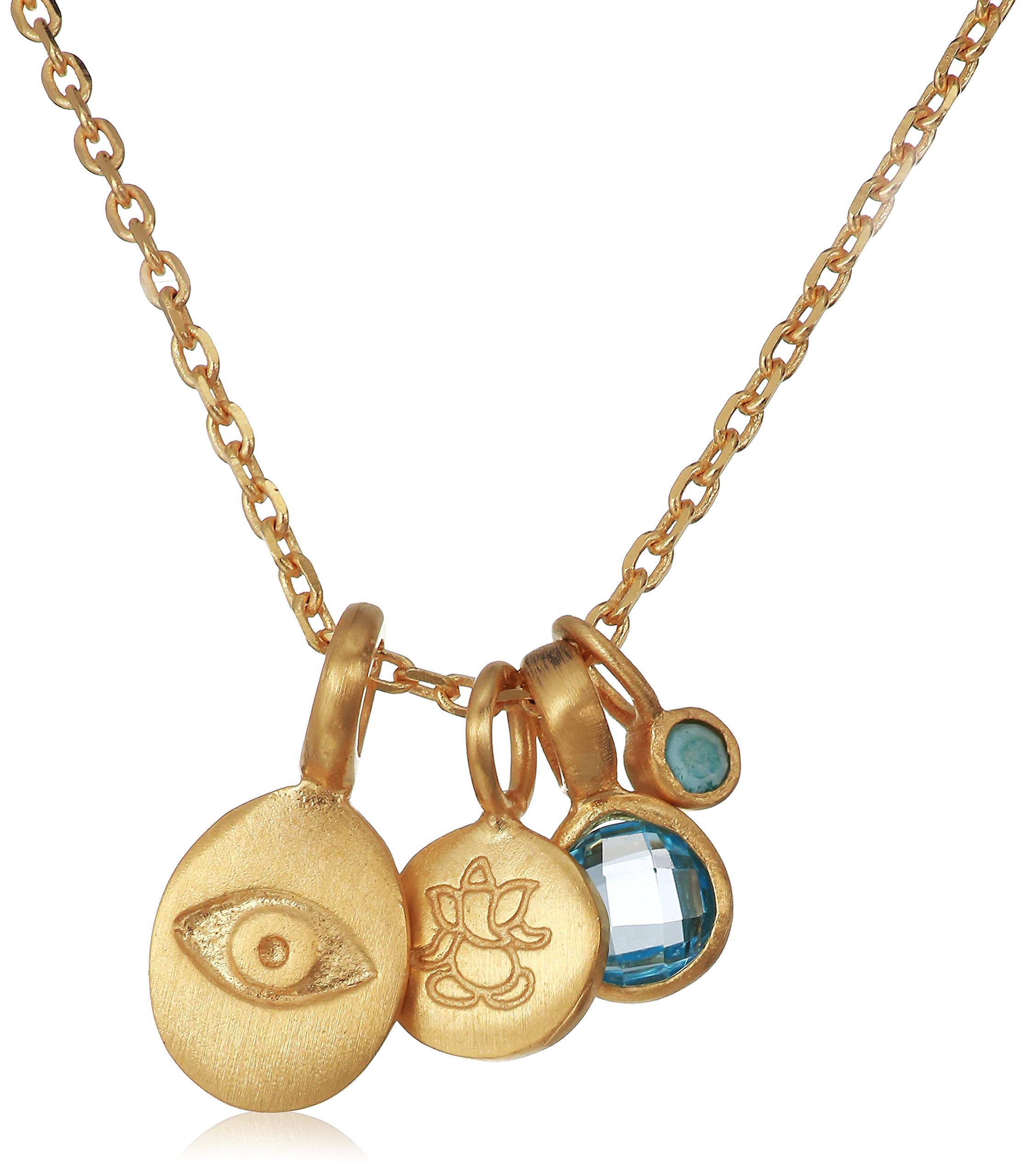 Satya Jewelry Women's Blue Topaz Gold Eye & Ganesha Charm Pendant Necklace 18-Inch, Blue, One Size