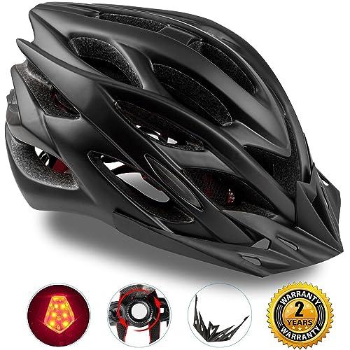 Shinmax Casco de Bicicleta con Luz LED,Certificado CE,Casco de Ciclismo con Visera