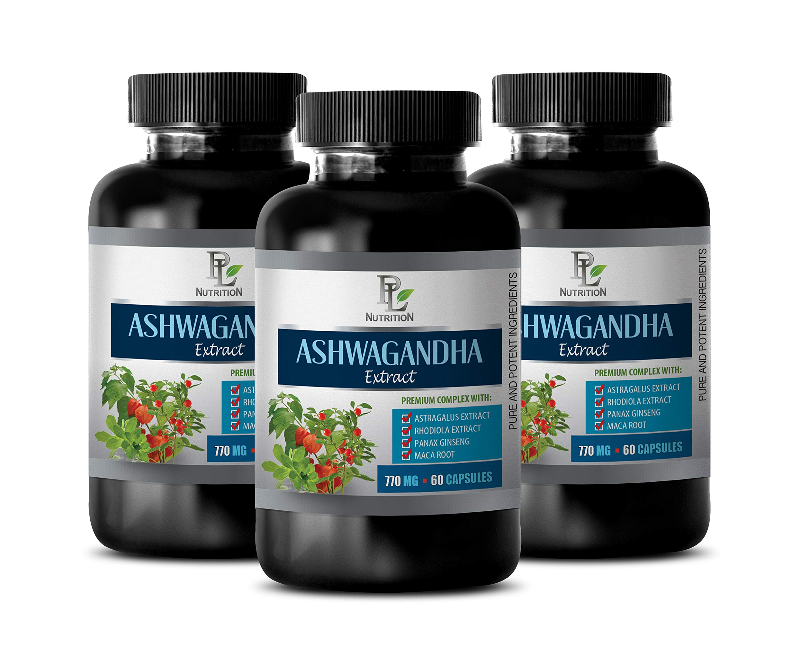 Brain and Memory Supplements - ASHWAGANDHA Extract 770MG - Premium Complex - eleutherococcus senticosus Extract - 3 Bottles 180 Vegetable Capsules