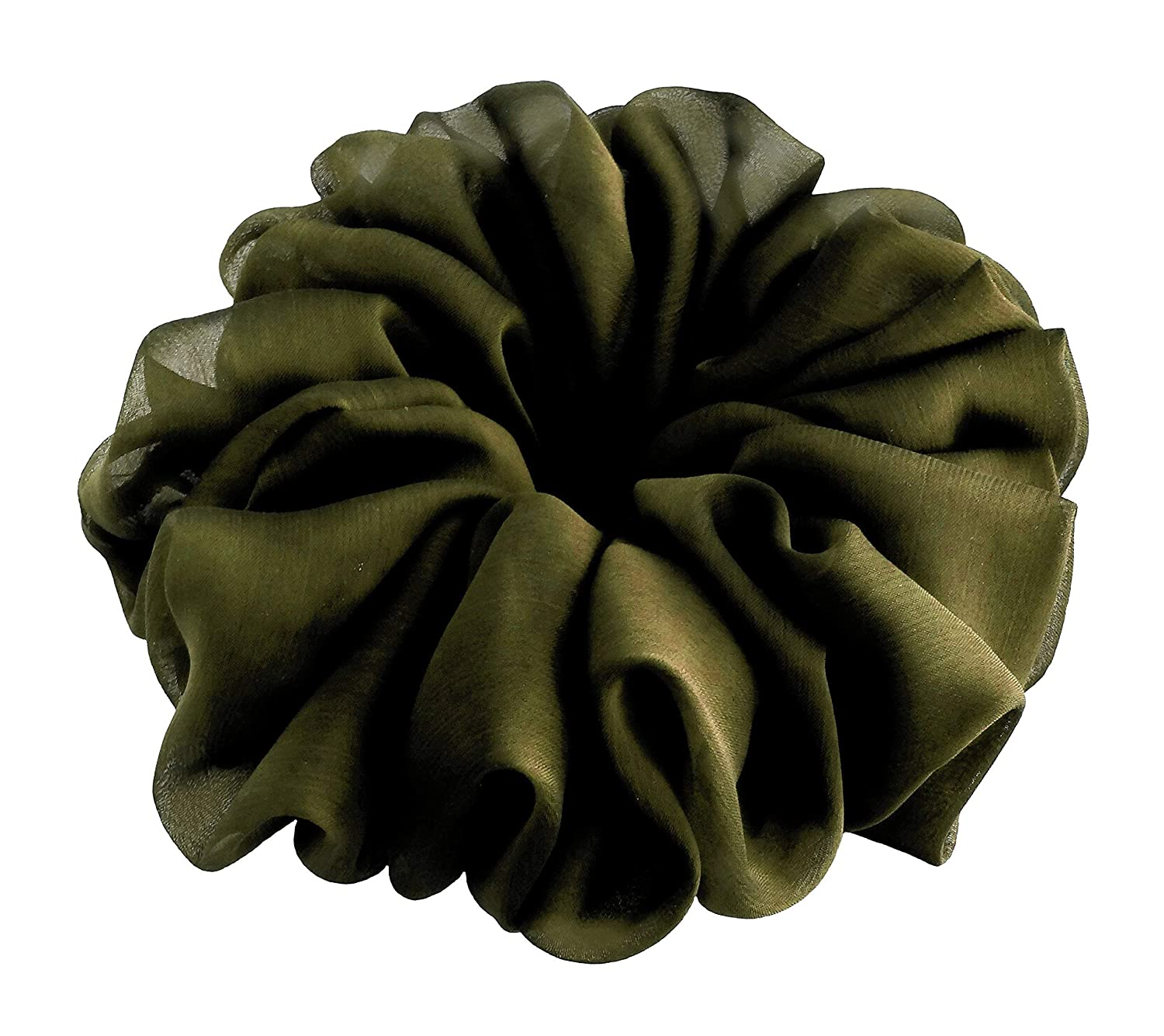 Dark Green Large Big Chiffon Scrunchies Stylish Accessories Hair Band Ponytail Holder Teen Girls Women