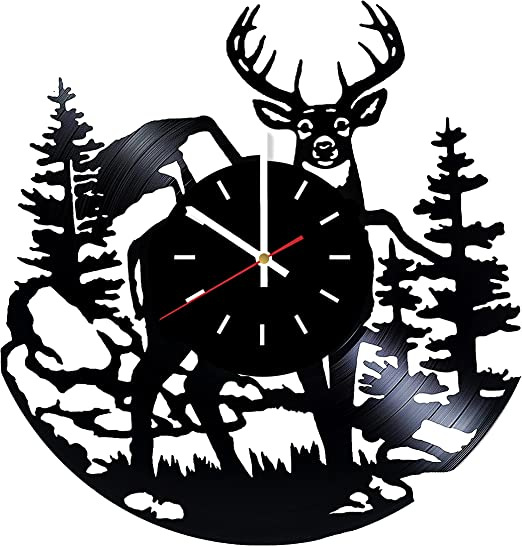 Elk VINYL CLOCK ART WOODLAND WILDLIFE RUSTIC MOUNTAIN CABIN WALL DECOR USA MADE