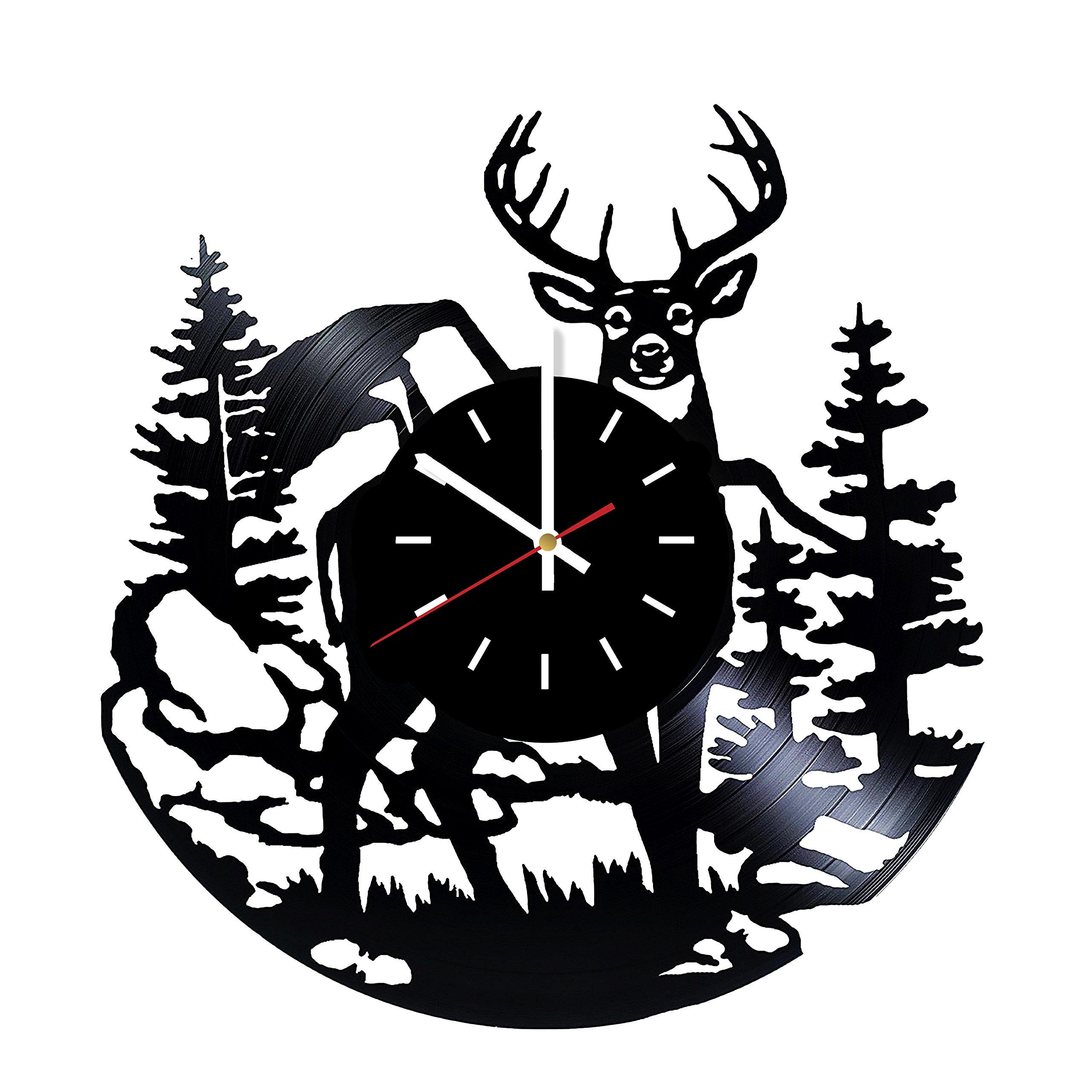 Deer Vinyl Record Wall Clock - Home Or Living Room wall decor - Gift ideas for Men, Boys, Friends – Animals Unique Art Design