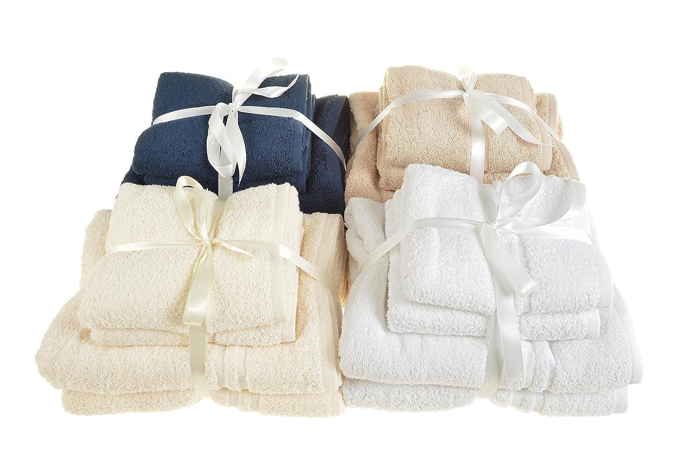 Juego de 4 toallas de ALLURE Fashions Hotel Essentials. Incluye 2 toallas de mano de 50 x 80 cm y 2 toallas de baño de 70 x 120 cm, algodón, crema, ...