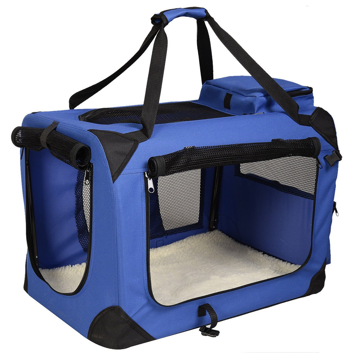 Pet Dog Carrier Portable House Soft Sided Cat Comfort Travel Tote Bag (32x23x23 Inches, Blue)