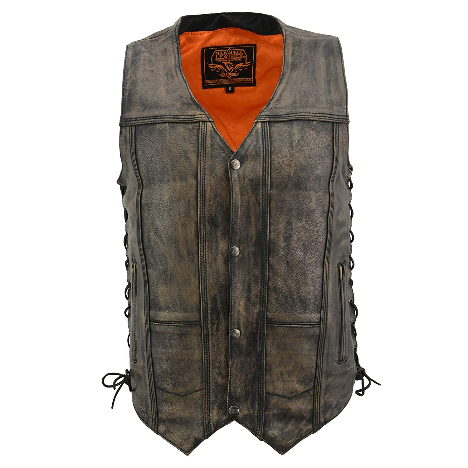Milwaukee Mens Distressed 10 Pocket Vest Brown, 4X-Large