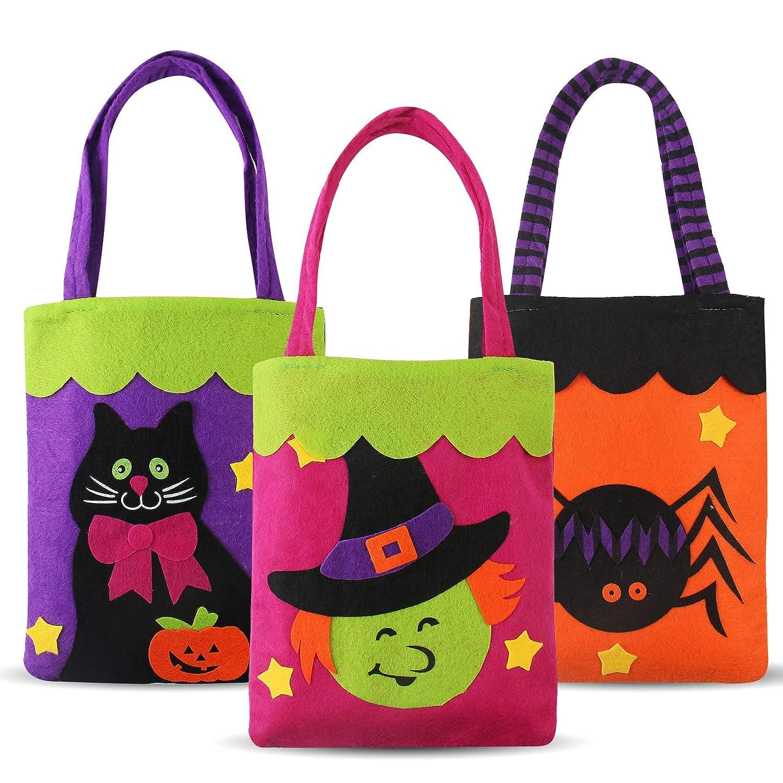 Halloween Candy Felt Bags(3pcs) for Kids Boys Girls, Pumpkin Candy Hand Bags Trick or Treat Bags Felt Bags with Handle for Kids Halloween Costume Party Gorgeous Ranch